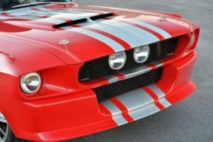 1967 Shelby GT500CR red with silver stripes built by Classic Recreations front grill
