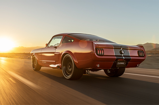 1965 Shelby GT350CR Pro-Touring red with black stripes built by Classic Recreations