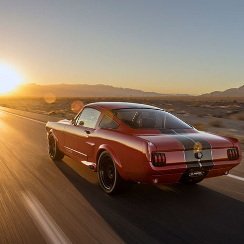 1965 Shelby GT350CR Pro-Touring red with black stripes built by Classic Recreations driving