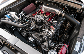 1967 Shelby GT500CR grey with black stripes built by Classic Recreations engine bay