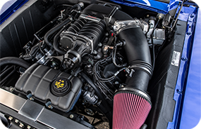 1967 Shelby GT500CR 900C blue with silver stripes built by Classic Recreations engine bay