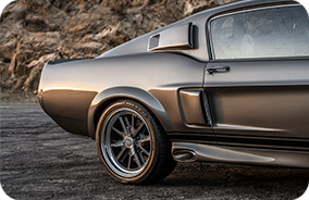 1967 Shelby GT500CR grey with black stripes built by Classic Recreations rear