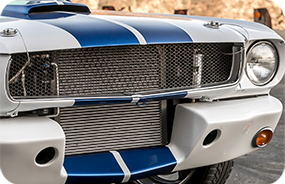 1965 Shelby GT350CR white with blue stripes built by Classic Recreations front grill