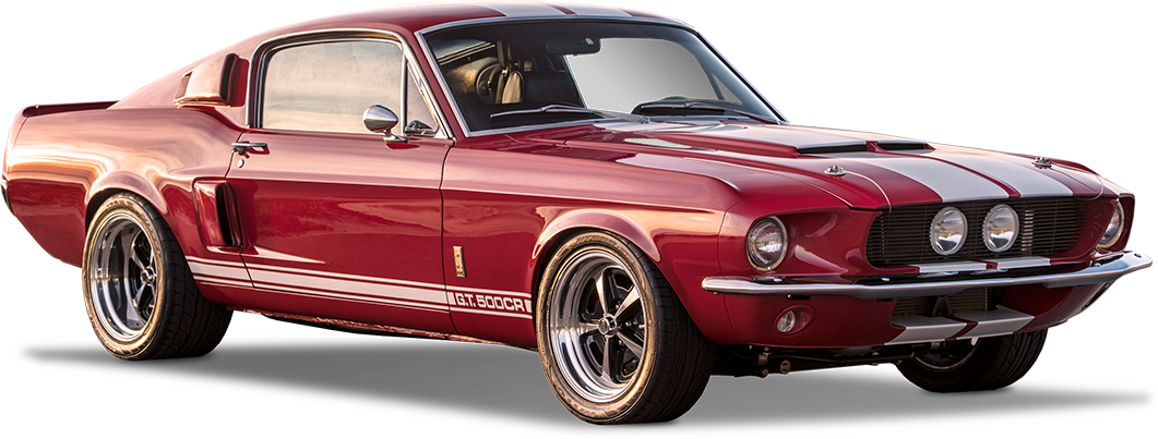 1967 Shelby GT500CR Classic red with black stripes built by Classic Recreations